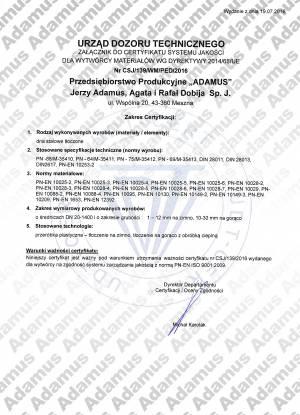 ADAMUS - Załącznik do certyfikatu systemu jakości wg dyrektywy 2014/68/UE